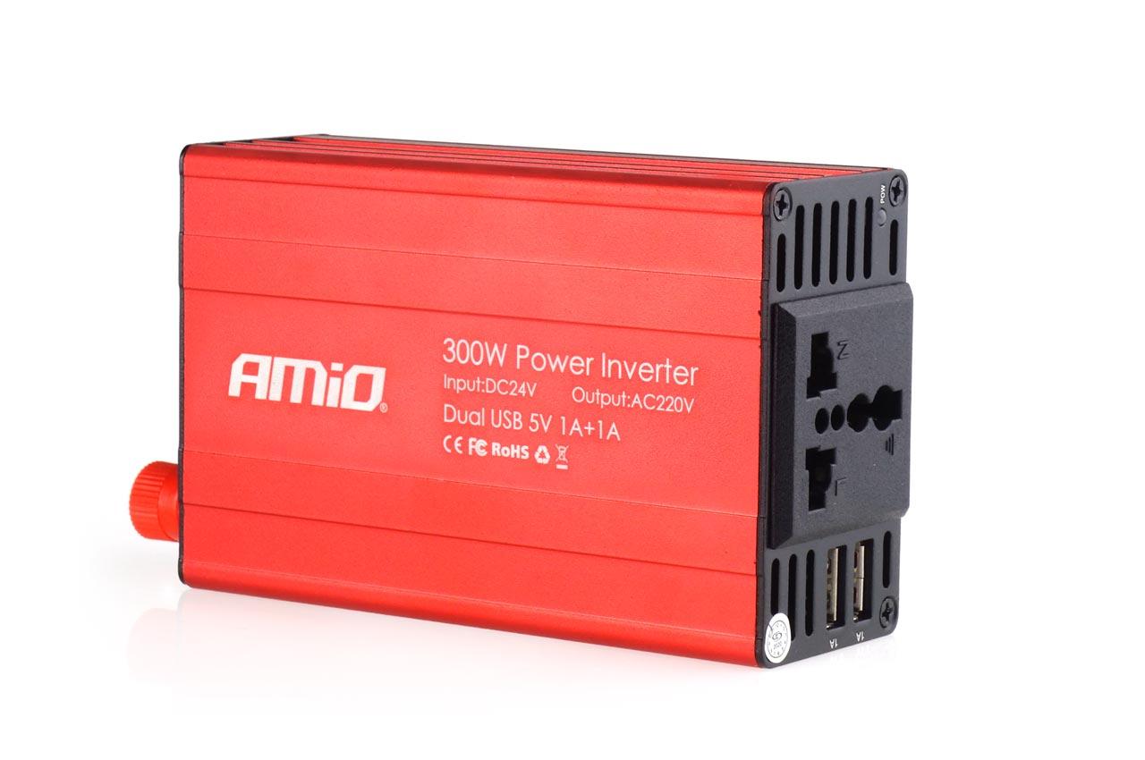 Měnič napětí AMiO 24V/230V, 300W/600W 2xUSB, 02471