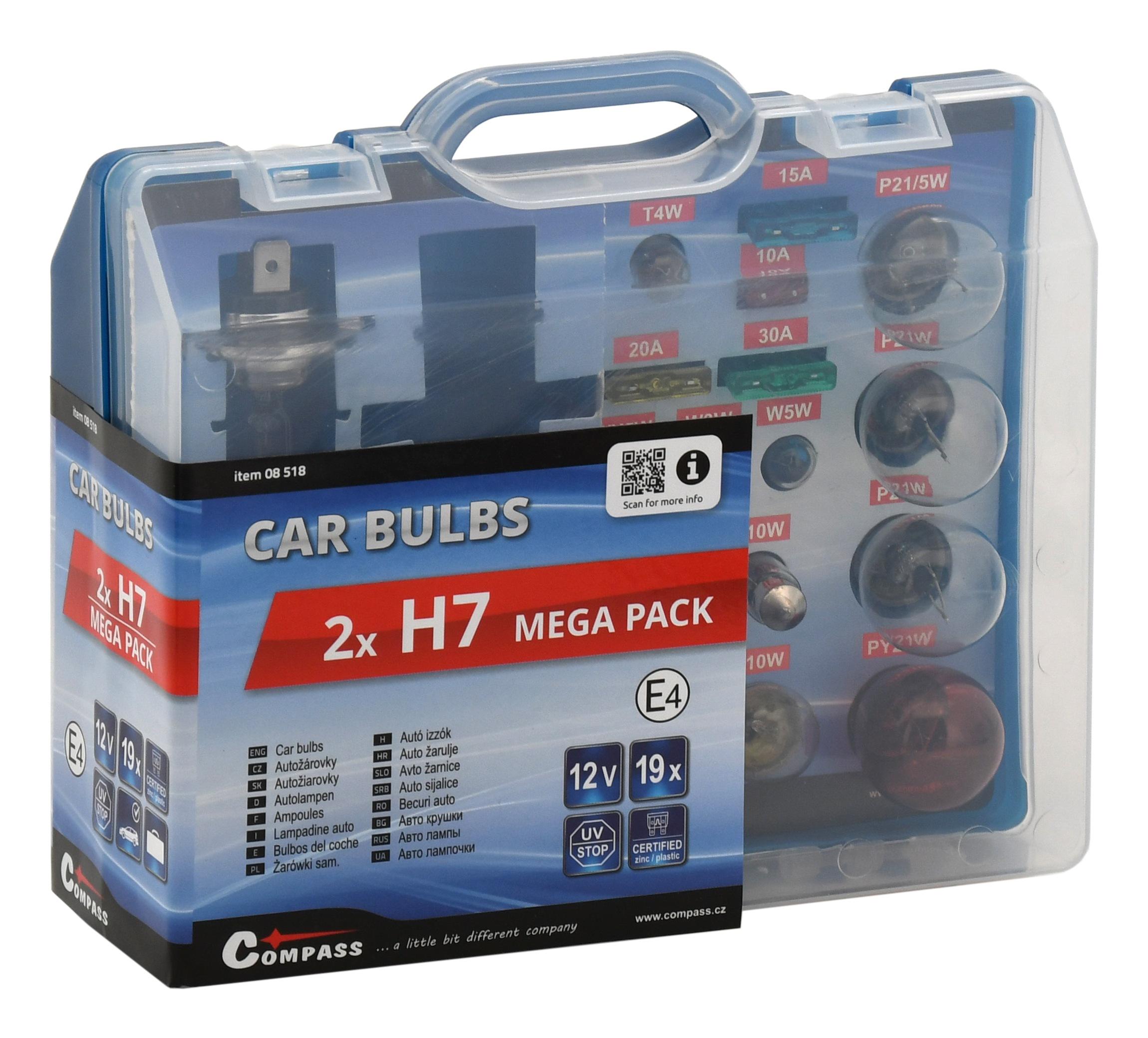 Žárovky 12V servisní box MEGA H7+H7+pojistky, 08518