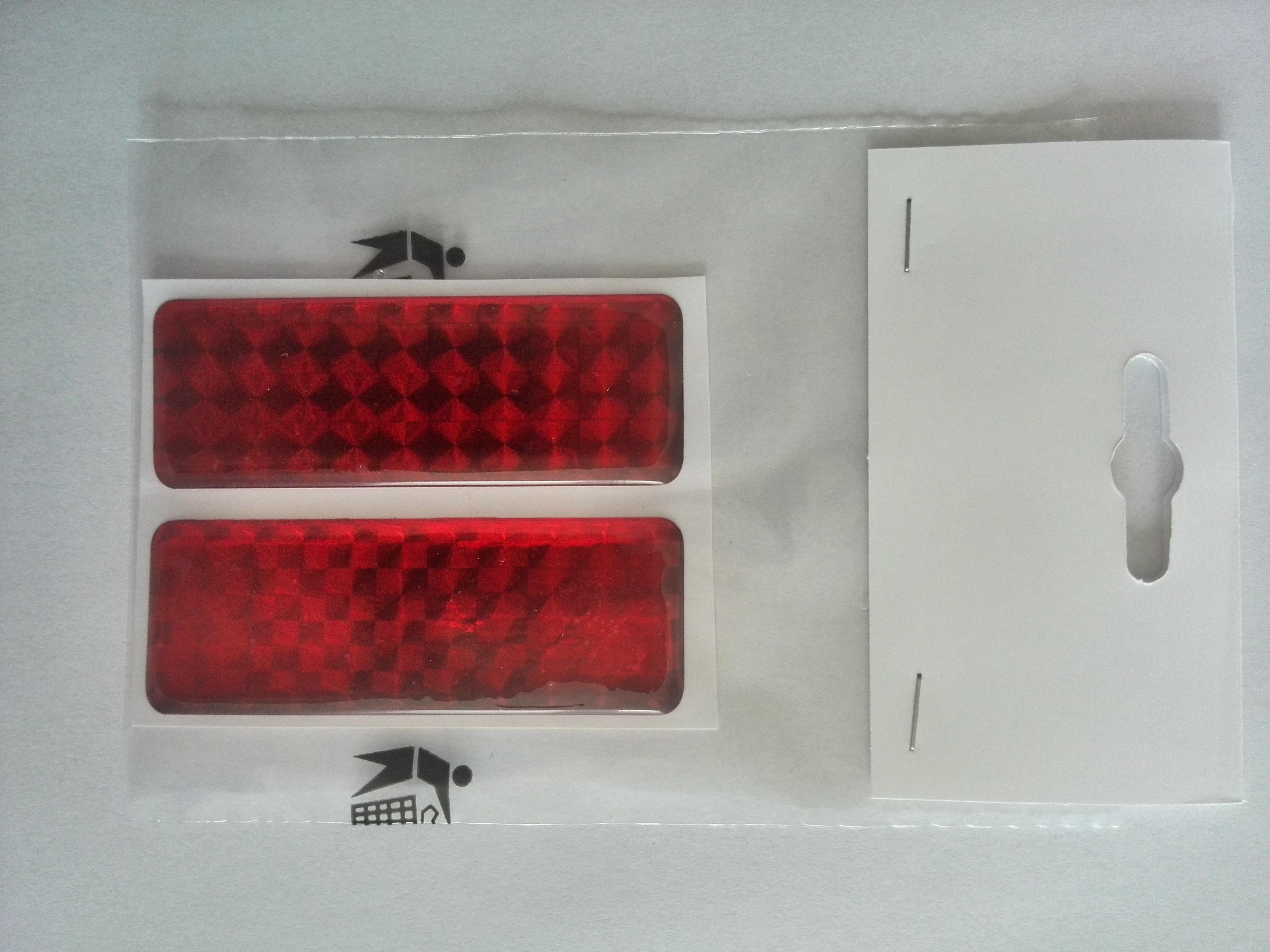 Odrazka 2,5x7 cm červená, samolepící