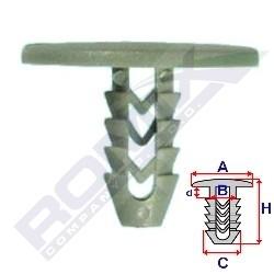 Příchytka čalounění A-25,2; B-6,4; C-7,9; d-2,6; H-20,4mm