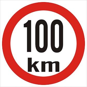 Omezená rychlost 100km/h - plast, 20x20cm
