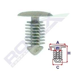 Příchytka čalounění A-13,9; B-4; C-7,8; d-2,3; H-17,5mm