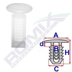 Příchytka čalounění A-12,3; B-5,4; C-7,1x7,1; d-2; H-19mm