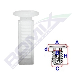 Příchytka čalounění A-12,3; B-5,7; C-8,9x7,4; d-2,4; H-26,7mm