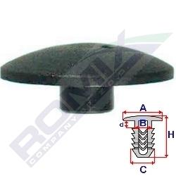 Příchytka koberce A-30,7; B-9,7; C-9,7; H-13,2mm