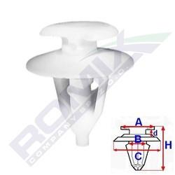 Příchytka čalounění A-12,9; B-8,3; C-18; d-2,8; H-21,4mm