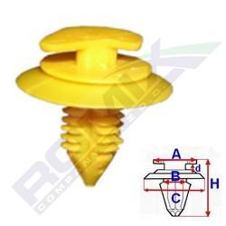 Příchytka čalounění A-14,7; B-5,9; C-20,7; d-2,3; H-22mm