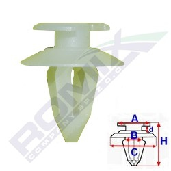 Příchytka čalounění; A-13,5; B-7,8; C-17,9; d-2,6; H-21mm