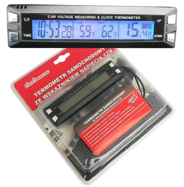 Teploměr digitální, hodiny, voltmetr 12V, 61741