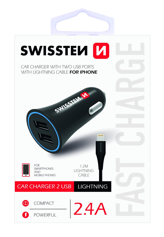 Zástrčka SWISSTEN s 2x USB výstupem 2,4A, 12/24V s kabelem lightning (iPhone), 46751