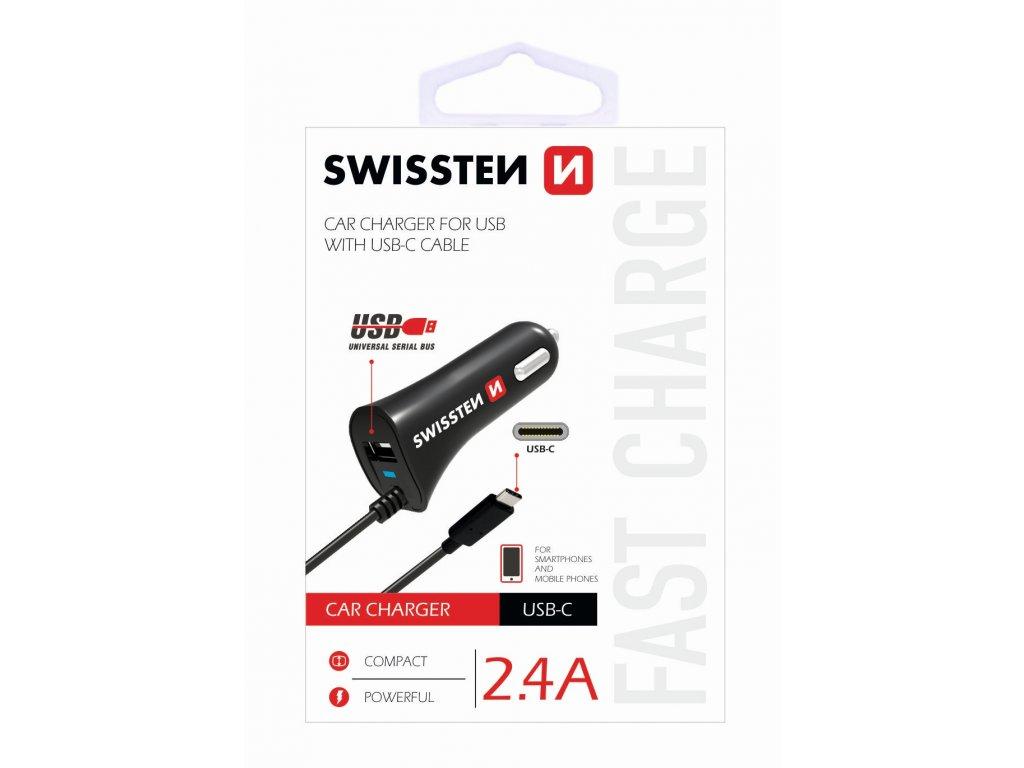 Nabíječka mobilu USB-C SWISSTEN s 1x USB výstupem 2,4 A, 12/24V, 45186