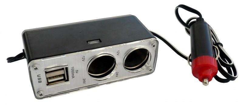 Rozdvojka zapalovače 12/24V, 2x USB, 42932