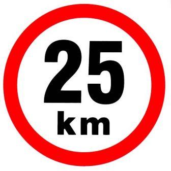 Samolepka omezená rychlost 25km/h
