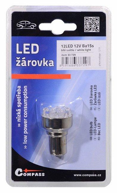 Žárovka 12 LED 12V Ba15s bílá, 33729