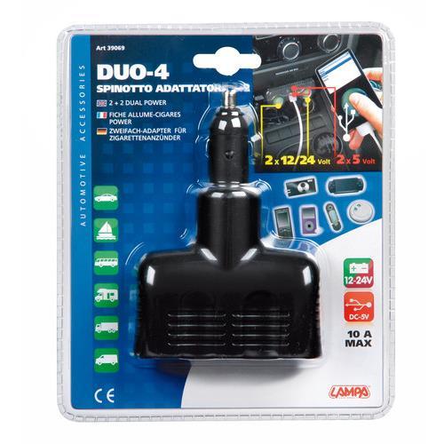 Rozdvojka zapalovače 12/24V + 2x USB (max.10A, max. 2A), 39069