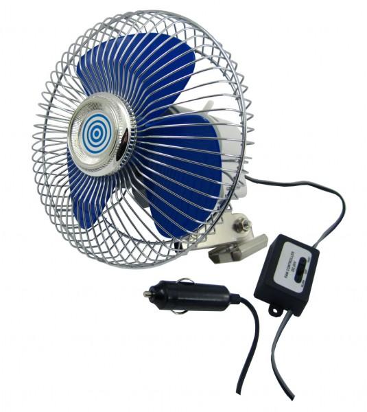 Ventilátor 12V velký kovový chrom,pr. 20cm 40144