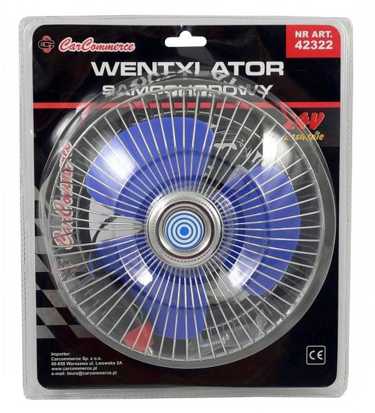 Ventilátor 12V velký kovový chrom, 42187