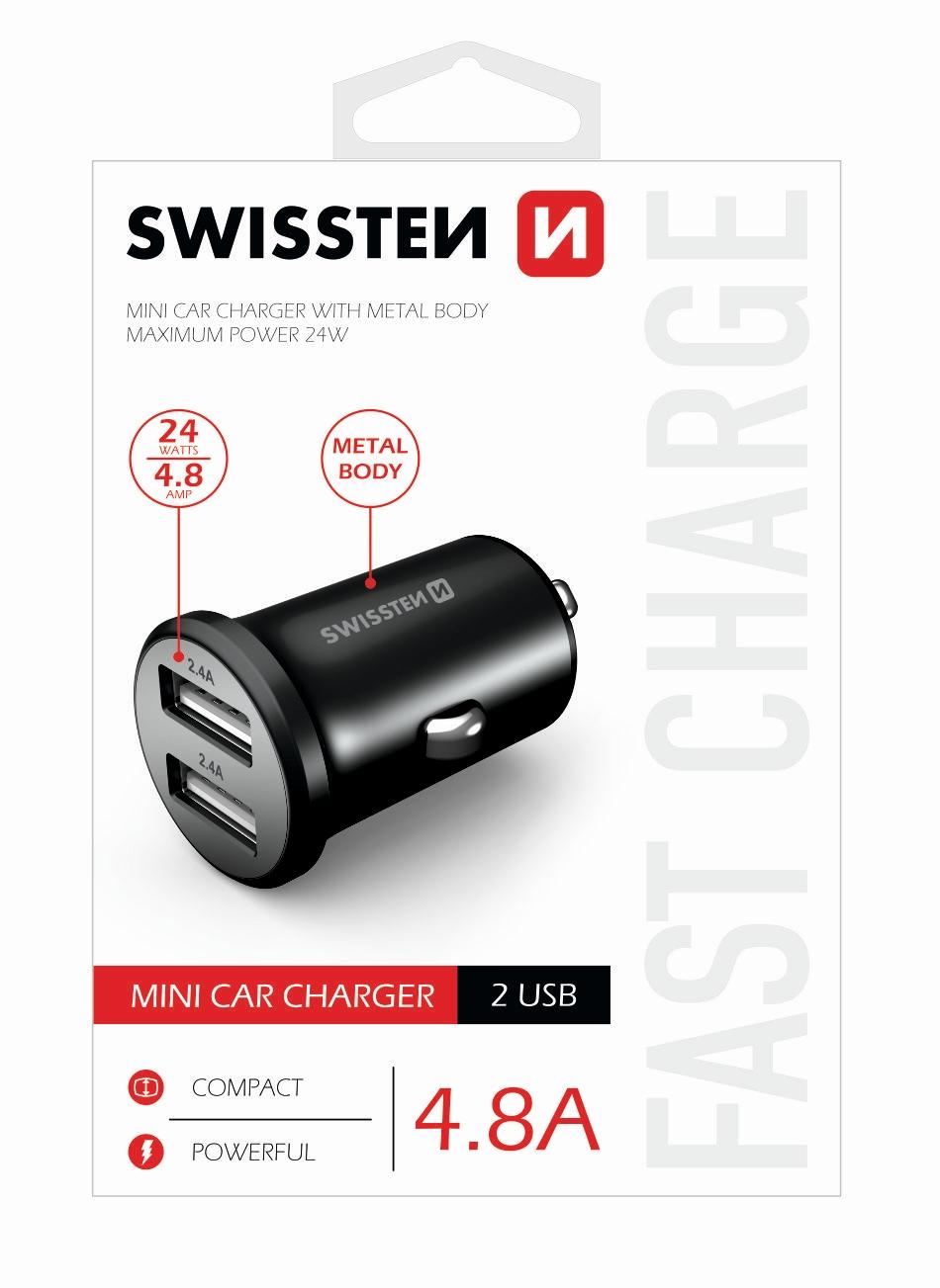 Zástrčka SWISSTEN s 2x USB výstupem 4,8 A (2,4A, 2,4A), 12/24V, 45509