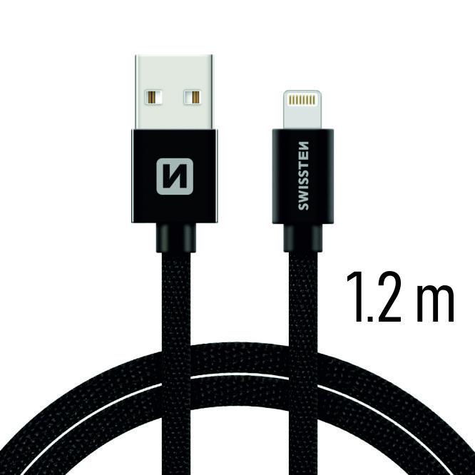 Kabel textile USB/Lightning SWISSTEN, černý, 45563
