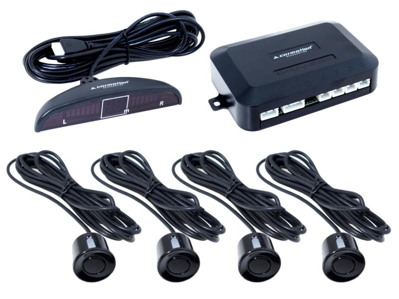 Parkovací asistent 4 senzory, barva černá s LED displejem a zvukovou signalizací, 58487