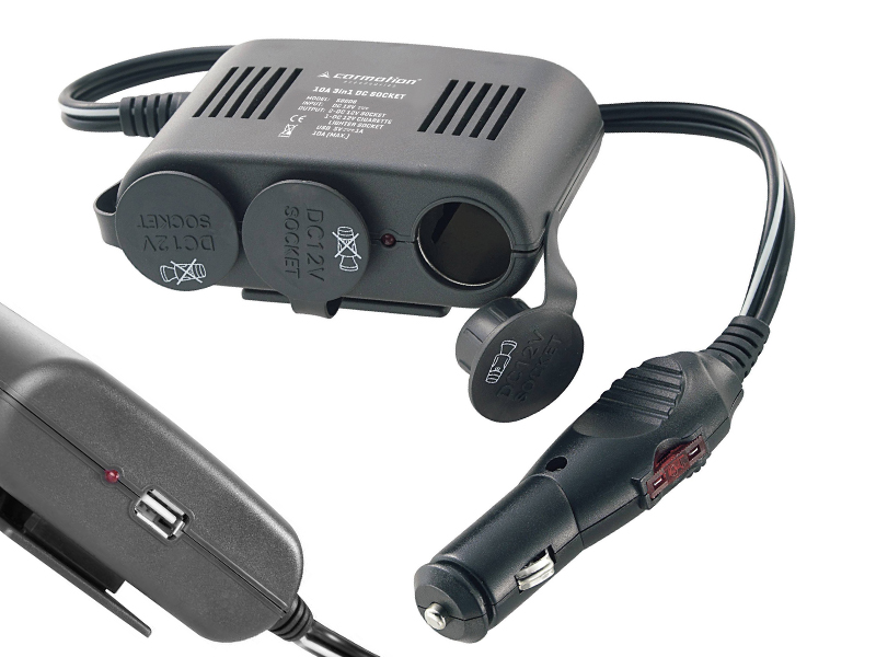 Roztrojka 12V s 1x USB (5V/1A), kabel 1m, pojistka 10A, 58606
