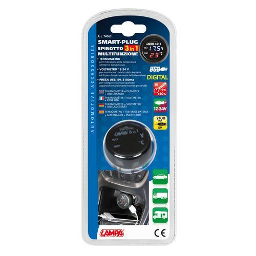 Voltmetr digitální s teploměrem a USB 2,1Ah, 74063