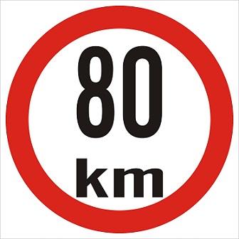 Omezená rychlost 80km/h - plast, 20x20cm