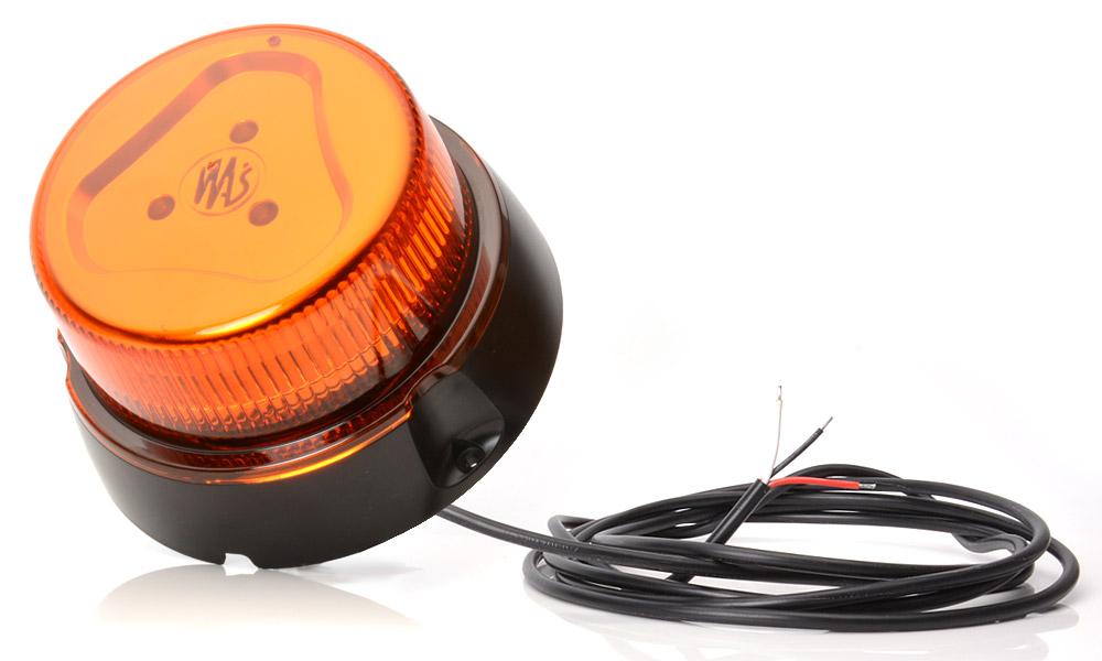 Maják LED oranžový,7 -funkci,12/24V, kabel 3m bez magnetu, W112