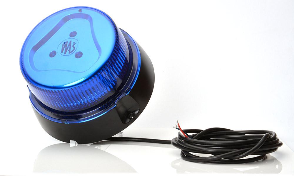 Maják LED modrý ,7 -funkci,12/24V, kabel 3m bez magnetu, W112