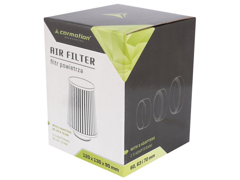 Filtr vzduchový UNI 120x130x90mm, černý, adaptér 60, 63, 70mm, 86006