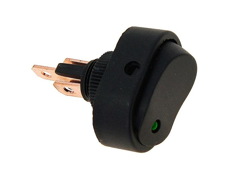 Přepínač kolébkový kulatý se zelenou LED diodou, 86108