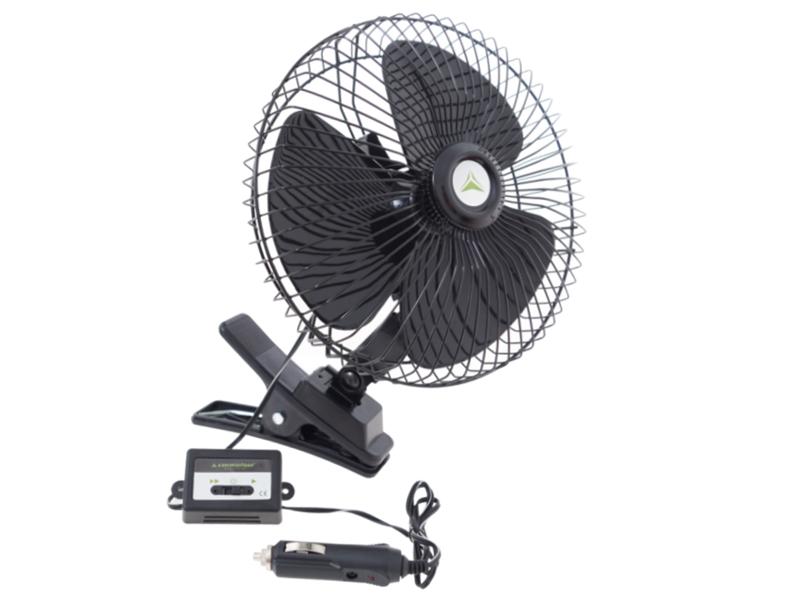 Ventilátor 12V/21W kovový pr.20cm černý s klipsem, 86337