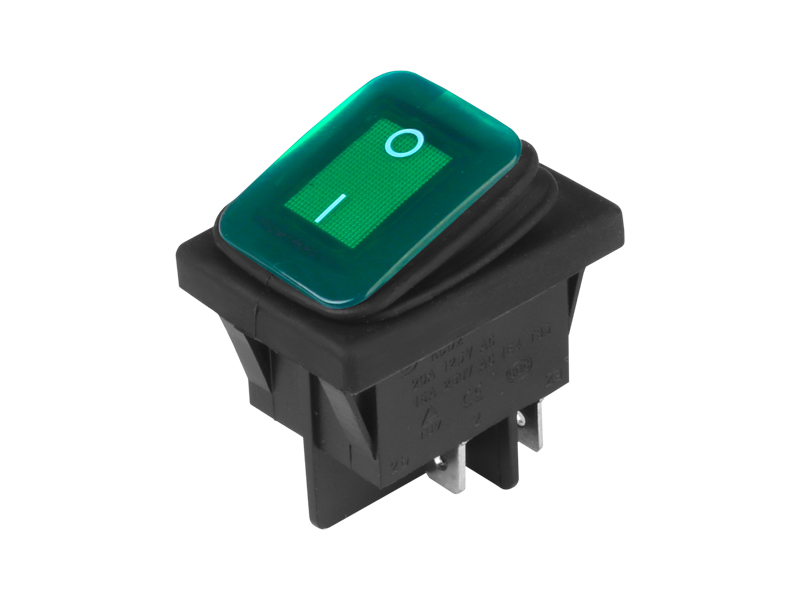 Přepínač kolébkový hranatý velký zelený 22x30 mm, 86541