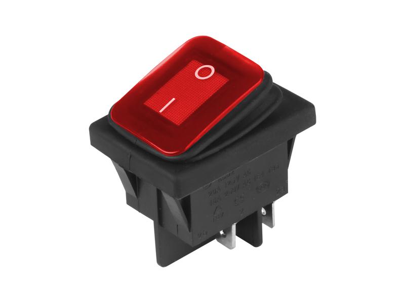 Přepínač kolébkový hranatý velký červený 22x30 mm, 86542