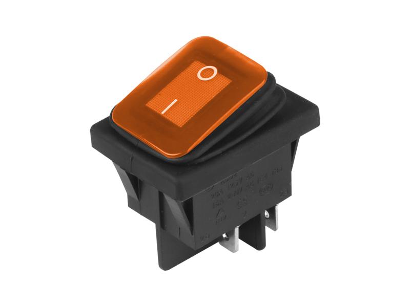 Přepínač kolébkový hranatý velký oranžový 22x30 mm, 86543