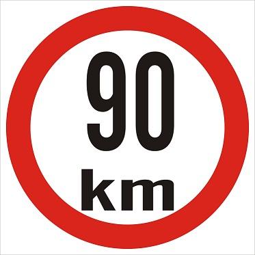 Omezená rychlost 90km/h - plast, 20x20cm