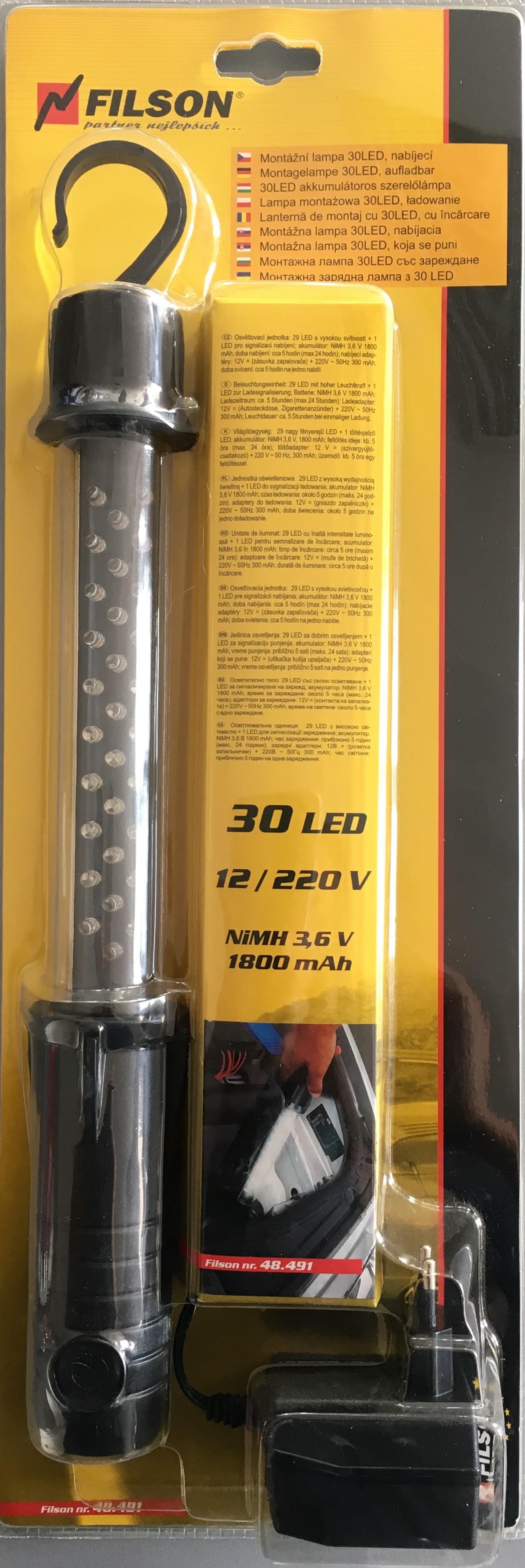 Lampa montážní 30 LED 12/220V dobíjecí 48.491