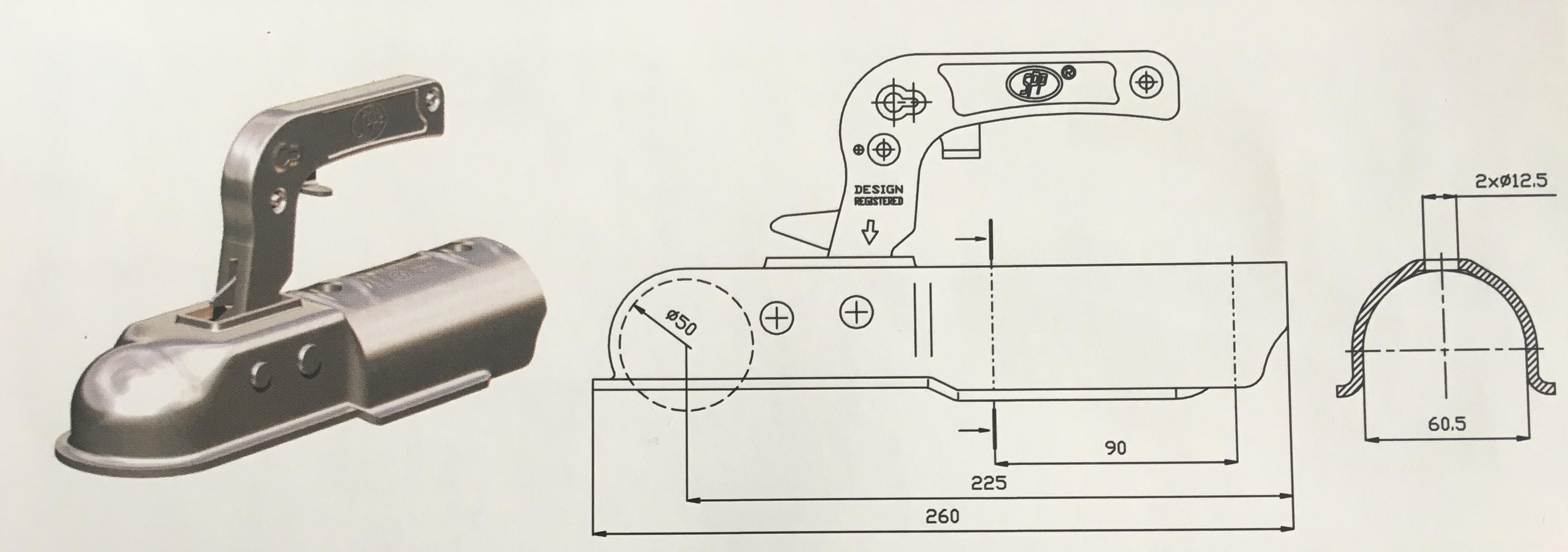 Závěsné zařízení (kloub) 1300 kg pr60mm kulaté, dvě horní díry