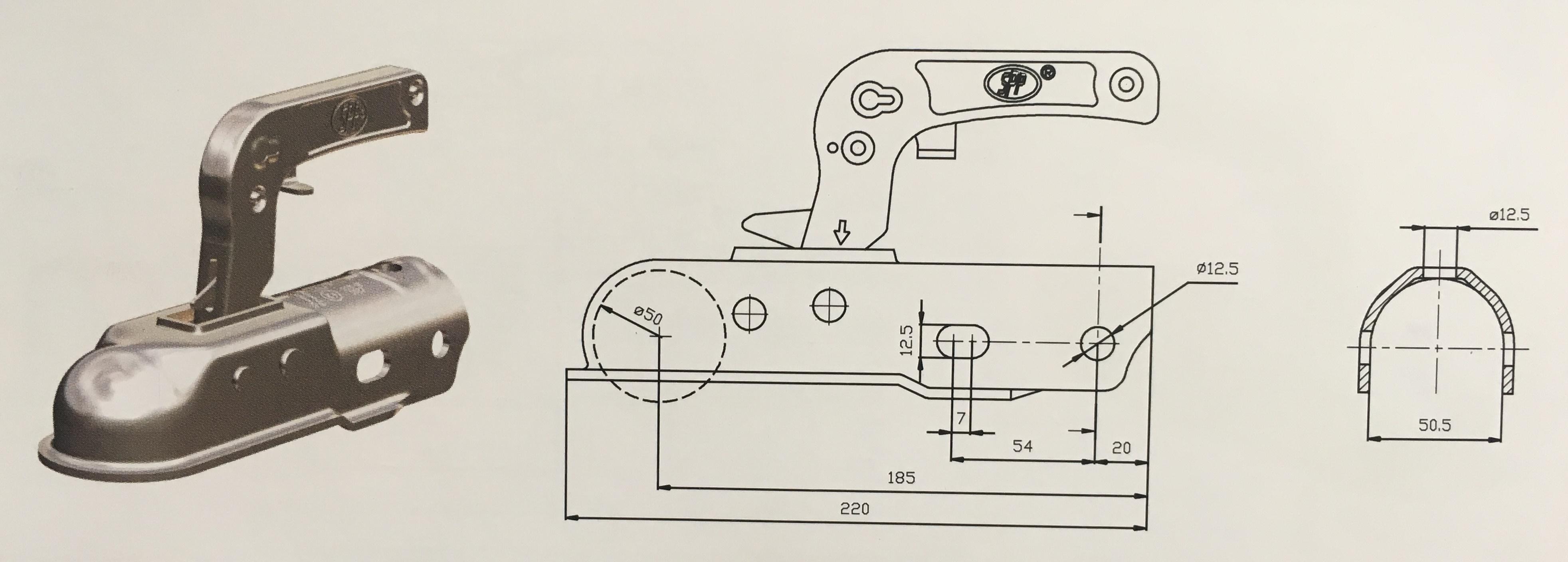 Závěsné zařízení (kloub) 1300 kg pr50mm kulaté, dvě boční díry a 1 horní díra