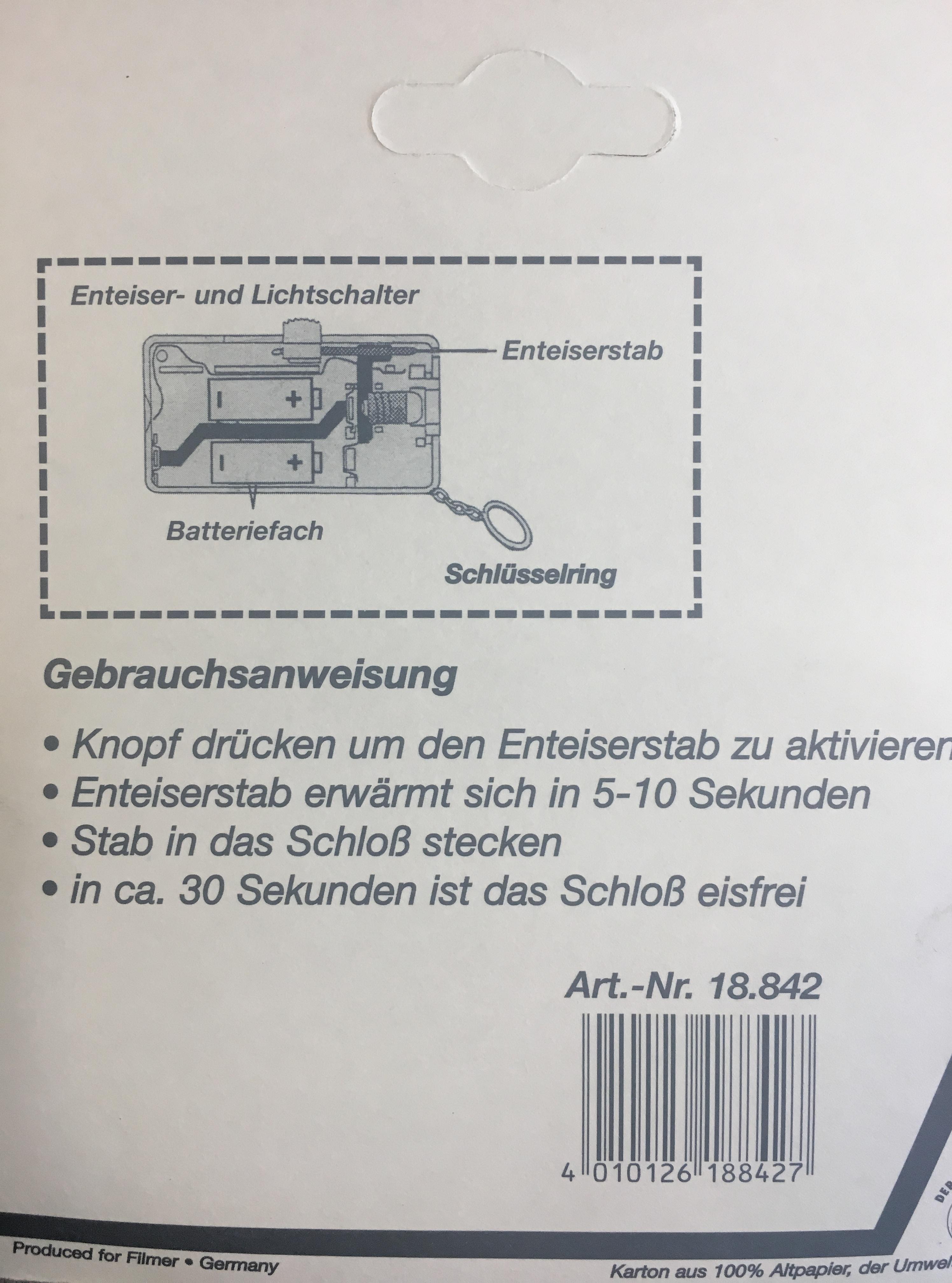 Rozmrazovač zámku na dvě baterie AAA  (Baterie nejsou součásti balení) 18.842