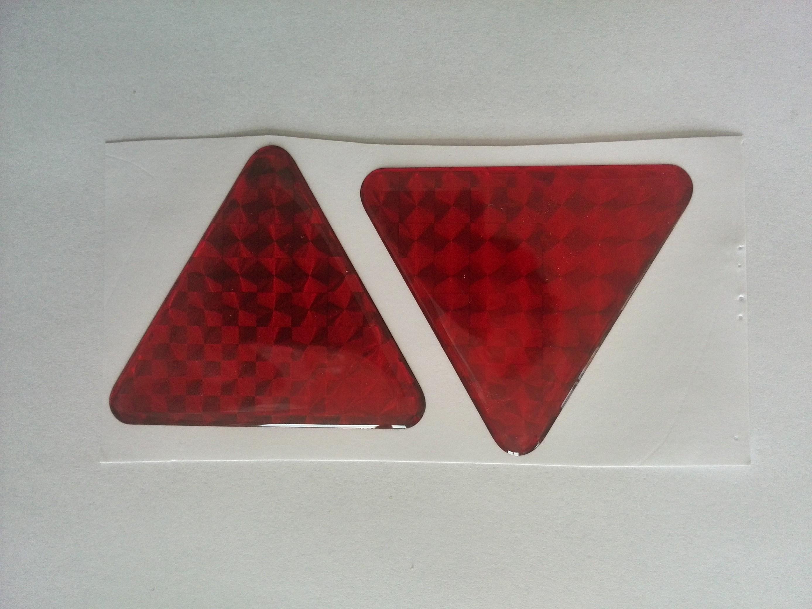 Odrazka trojúhelník červená poloplast, samolepící