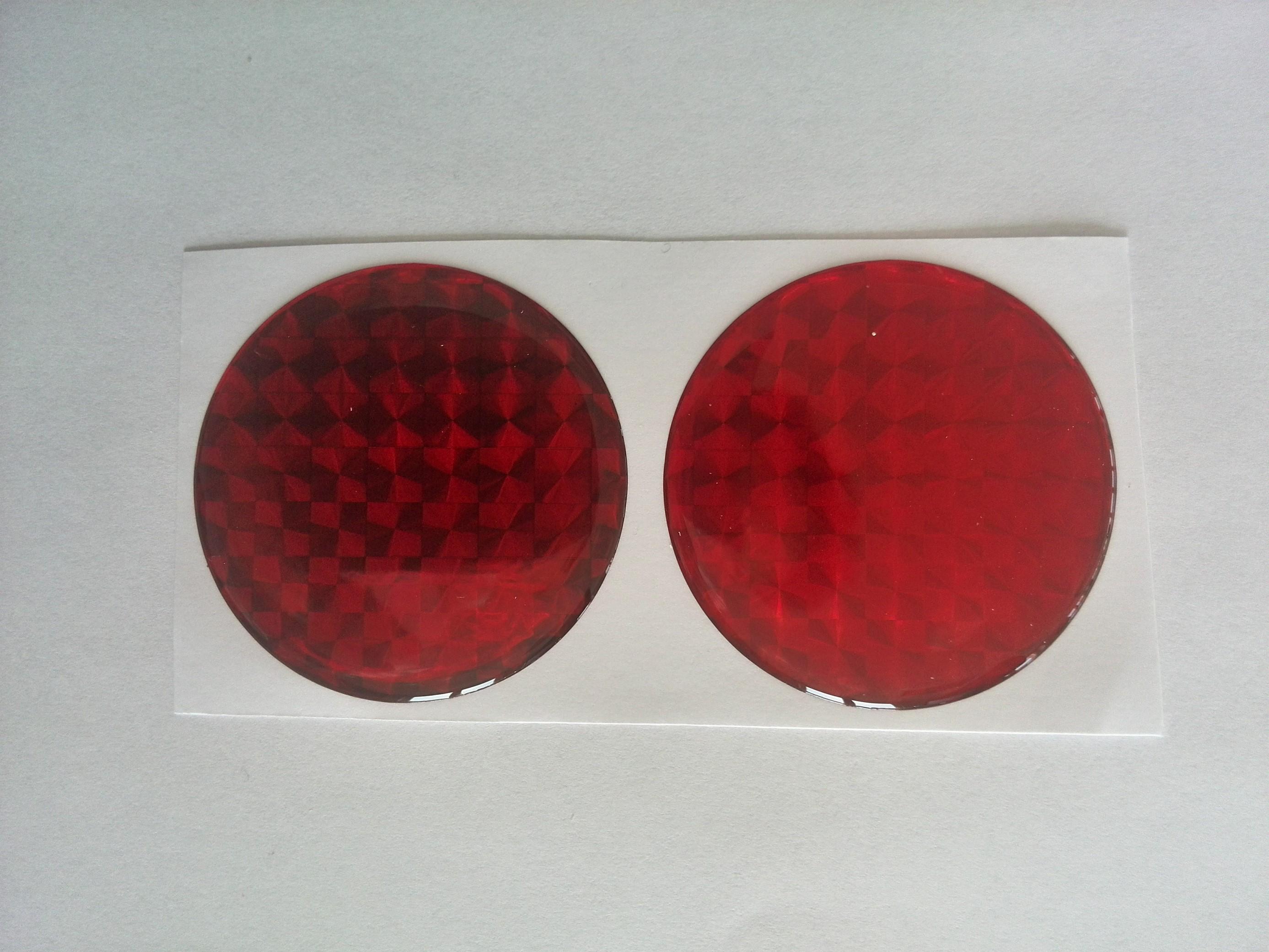 Odrazka kulatá prů.5cm červená poloplast, samolepící