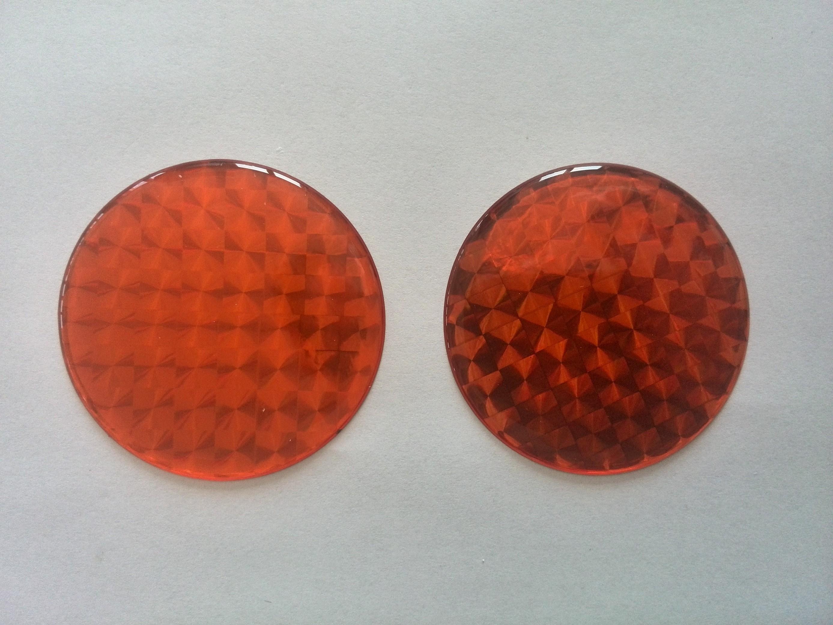 Odrazka kulatá prů.5cm oranžová poloplast, samolepící