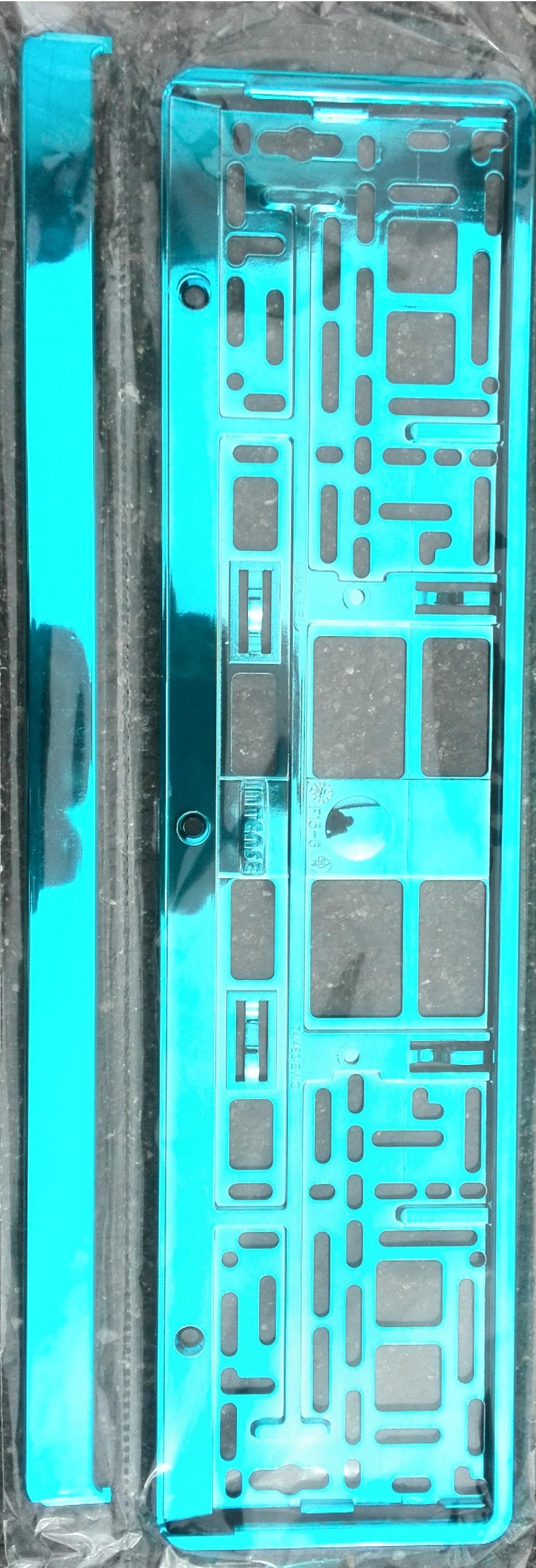 Podložka pod SPZ metallic s odnímatelným panelem tyrkysová modř
