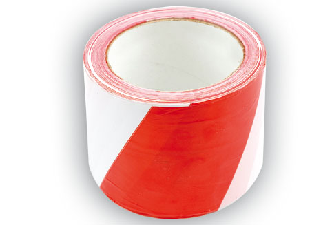 Páska výstražná červenobílá 75 mm x 100 m, VOREL