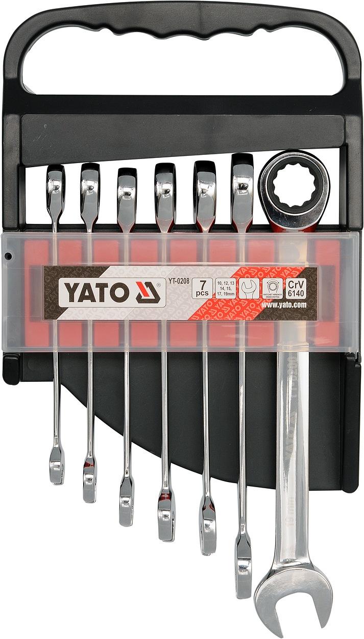Sada klíčů očkoplochých 7ks 10-19 mm ráčnové, YATO