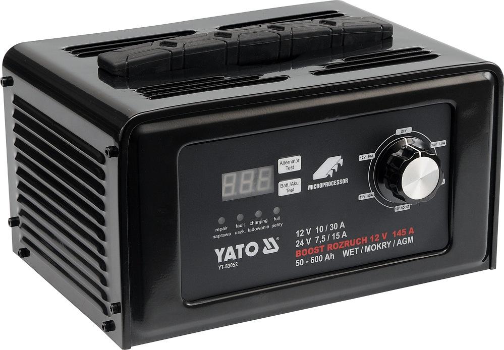Nabíječka autobaterií YATO digitální s jump startem 30A, YT-83052