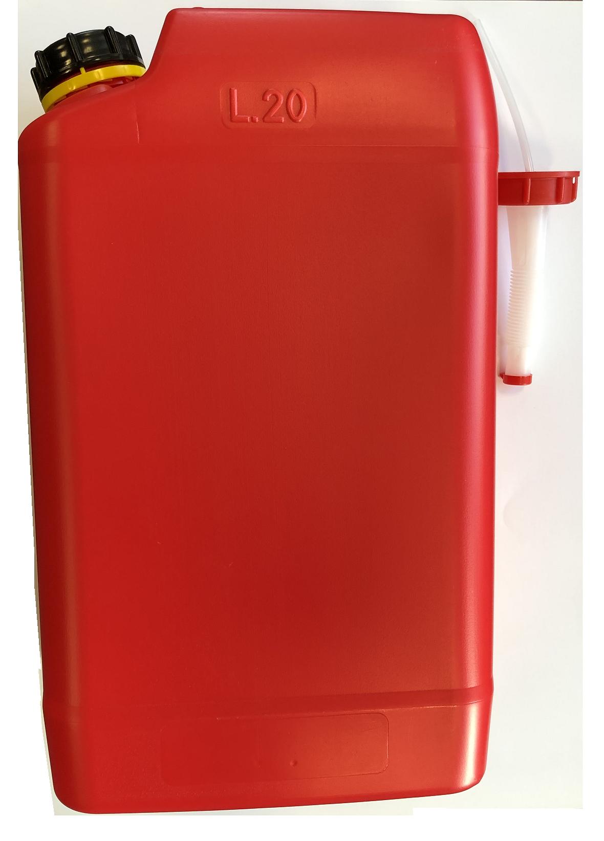 Kanystr plastový PHM 20l s nálevkou PLASTIK Slovinsko, červený