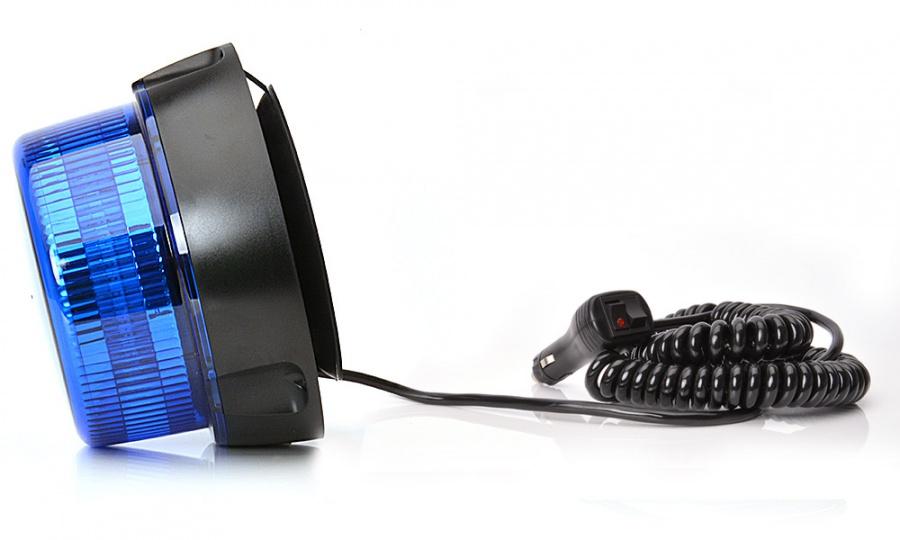 Maják magnetický LED modrý ,12/24V, kabel 3m, zástrčka, W112