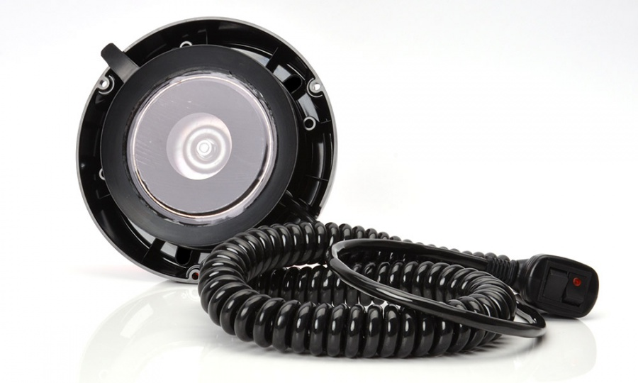 Maják magnetický LED oranžový,12/24V, kabel 3m, zástrčka, W112